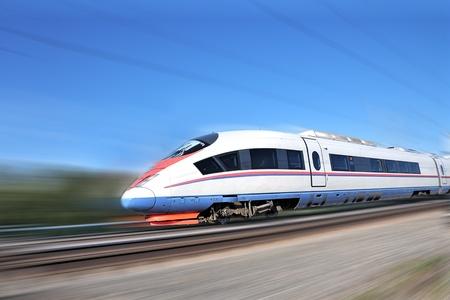 High-speed commuter train. Modern business train. High-speed rail.