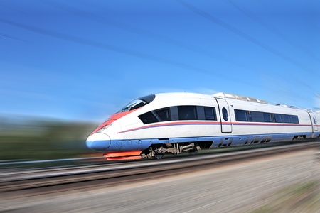 modern train: High-speed commuter train. Modern business train. High-speed rail.