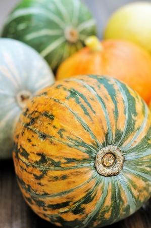 Autumn pumpkin on the table Stock Photo