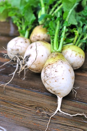 Fresh turnips on a wooden table.