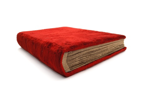 The old red book. The book is bound in soft velvet. photo