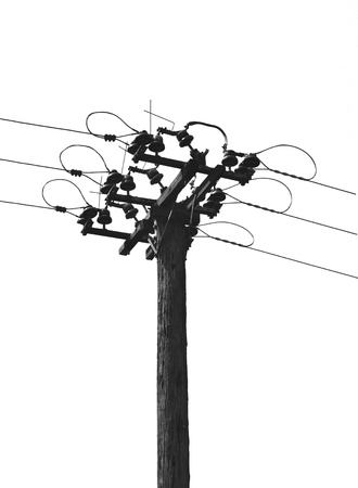 electricity pylon: The wires on the pole. Isolated on a white background.