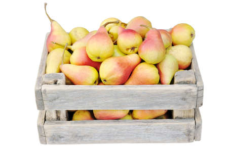 Ripe pears in a box. Harvest pears in a box on a white background. Stock Photo