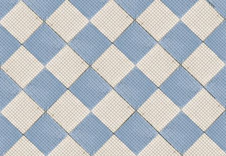Ceramic floor tile  Tiles of blue cubes and squares  photo