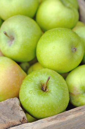 Green apples in a wooden box  Stock Photo - 12566873