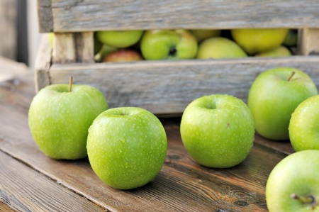 Green apples in a box  Scattered on the table apples
