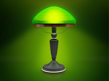 bezel: Vintage lamp  Green desk lamp  Glow in the dark green antique lamp  Stock Photo