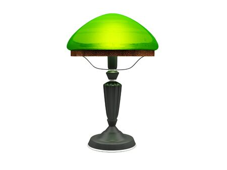 dispersal: Green vintage lamp on a white background