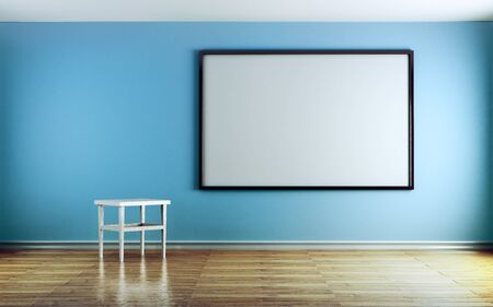 Classroom with blue walls and white boards