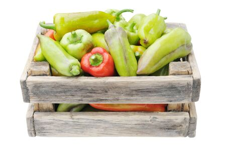 muster: Box with pepper isolated on a white background  Stock Photo
