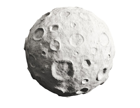 asteroid: Moon on a white background  Lunar craters and bumps  3D image of the full moon  Isolated  Stock Photo