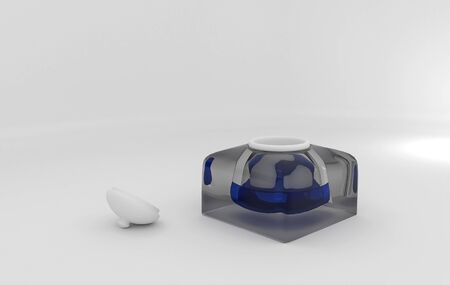 inkwell: massive glass inkwell with ink