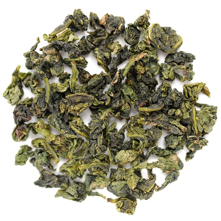 loose leaf: Benshan oolong chinese tea closeup macro isolated Stock Photo