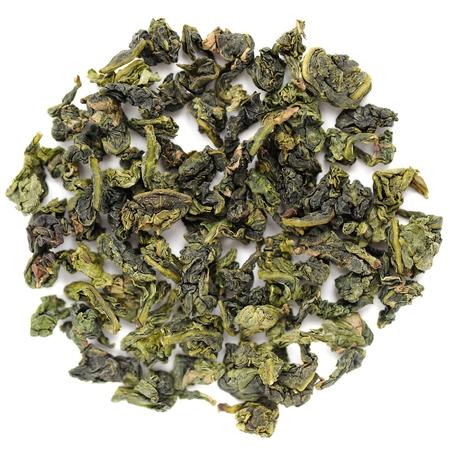 green tea leaves: Benshan oolong chinese tea closeup macro isolated Stock Photo