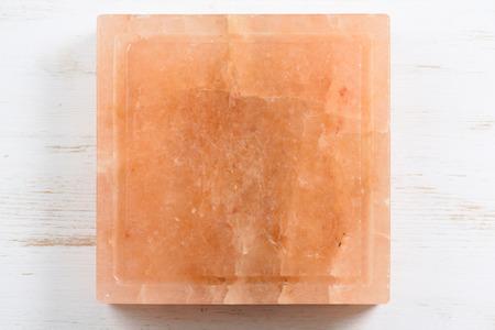Square Hymalayan pink salt block with cracks top view