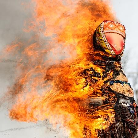 Orel, Russia - February 26, 2017: Maslenitsa fest. Burning Maslenitsa Lady closeup