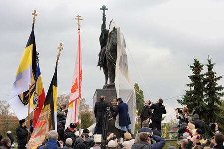Orel, Russia - October 14, 2016: Ivan the Terrible monument opening ceremony. Ceremony of Ivan the Terrible monument opening by Orel governor and officials
