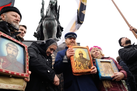 Orel, Russia - October 14, 2016: Ivan the Terrible monument opening ceremony. Cossacks and Union of Orthodox Banner-Bearers, Russian ultra-orthodox clerical group with icons infront the monument Editorial