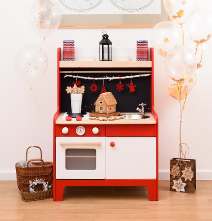 Designer Toy Kitchen. Black, Red And White Toy Kitchen Decorated With  Gingerbread House And