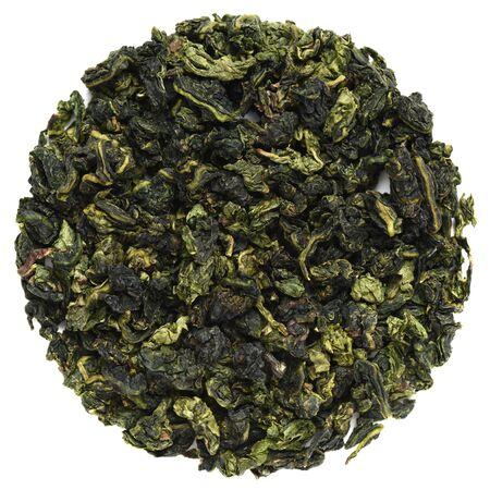 Te Guanin Oolong tea round shape isolated on white overhead view 版權商用圖片