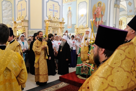Orel, Russia - July 28, 2016: Russia baptism anniversary Divine Liturgy. Bishops in Smolenskaya church Editorial