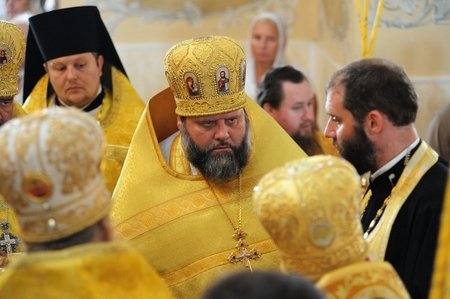 Orel, Russia - July 28, 2016: Russia baptism anniversary Divine Lutirgy. Russian Orthodox church bishops in festive uniform closeup