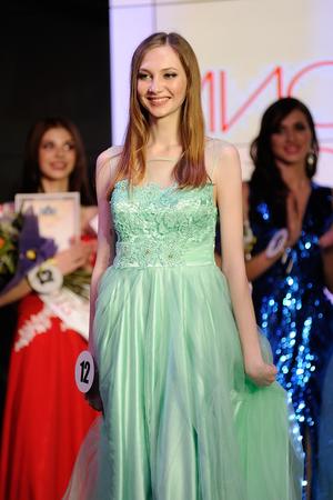 Orel, Russia - December 20, 2015: Miss Orel 2015 beauty contest. Vice-Miss Orel 2015 Svetlana Antonova vertical Editorial
