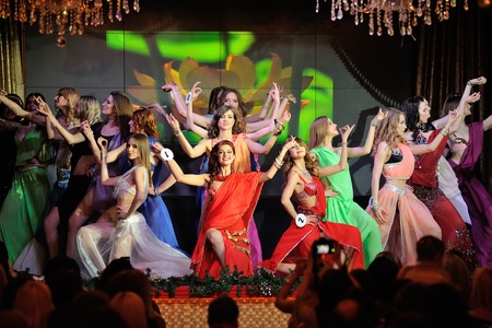 Orel, Russia - December 20, 2015: Miss Orel 2015 beauty contest. Girls dancing in Indian costumes horizontal