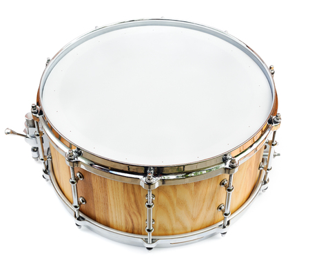 New wooden share drum isolated on white Фото со стока - 91459302