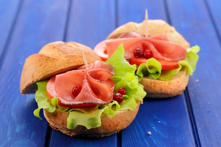 Fresh yummy hamburgers with ham, lettuce and whole cranberries on deep blue background closeup