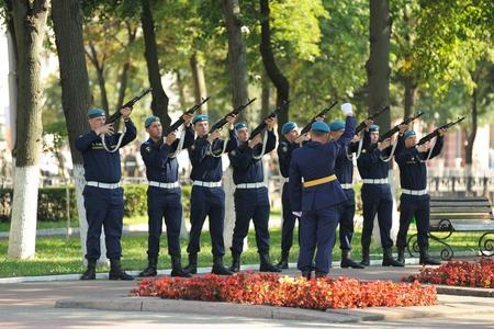 Orel, Russia - August 5, 2015: artillerymen making volley fire horizontal