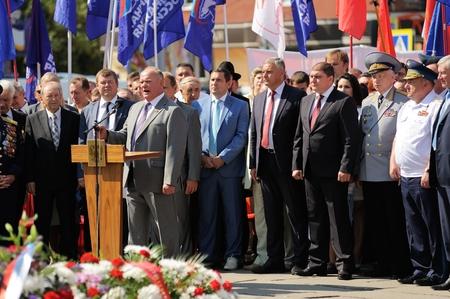 Orel, Russia - August 5, 2015: Zuganov, Potomsky, Stupin standing in a crowd horizontal Editoriali