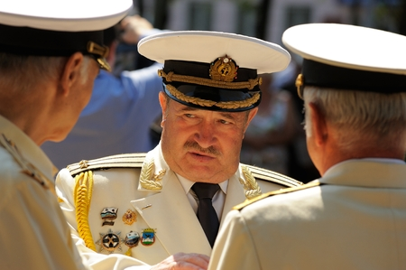 Orel, Russia - August 5, 2015: Podpolkovnik, Navy leutenant colonel in full dress closeup