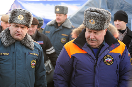 Orel, Russia - December 09, 2015: Emergency Control Ministry (MCHS) tactical exercise. Leonid Belyaev, russian general, MCHS deputy minister and Roman Gorbunov, deputy chief of Orel MCHS department closeup
