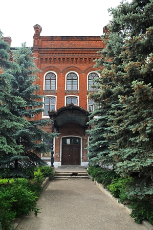 Alley with tall fur trees leading to old red brick house in Yelets, Russia vertical