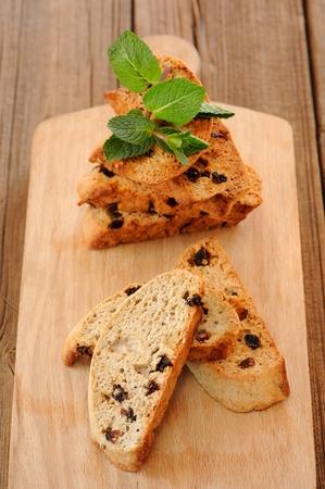 Italian biscotti with fresh mint closeup macro vertical