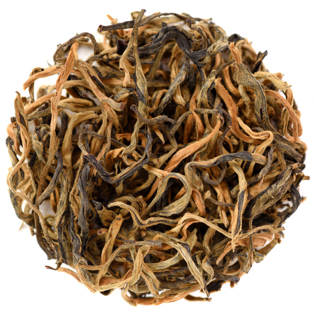 Wu Liang Mao Feng Red Tea from Yunnan overhead view isolated in round shape