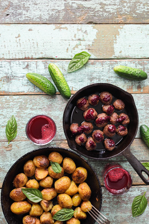 background, baked, balls, beef, brown, closeup, cooked, crispy, cuisine, delicious, dinner, dish, food, fresh, fried potatoes, fries, golden, green, homemade, hot, ingredient, lingonberry, lingonberry with copyspace