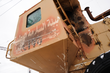 Orel, Russia, February 25, 2019: Syrian Break - trophy exhibition train of Russian Defence Ministry. DIY military machinery closeup