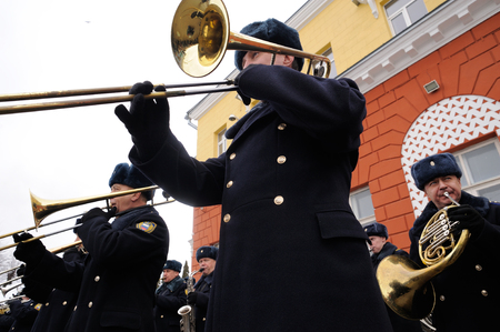 Orel, Russia, February 25, 2019: Syrian Break - trophy exhibition train of Russian Defence Ministry. Military brass band outdoor  playing in railway station