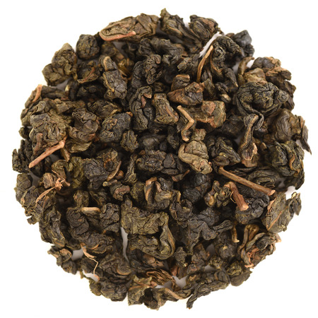 Pinglin Fo Shou Taiwan oolong in round shape isolated