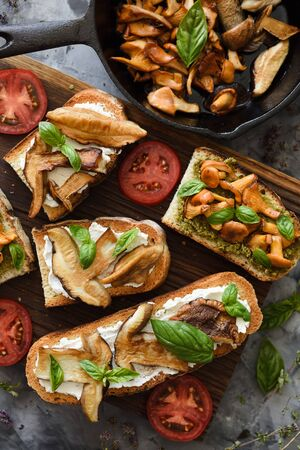 Cooking wild forest mushrooms. Sandwiches with fried chanterelles and porcini mushrooms, tomatoes and basil on dark background top view