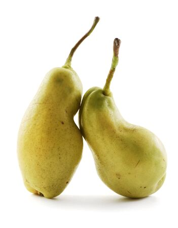 Ugly produce. Imperfect organic pears isolated on white background front view
