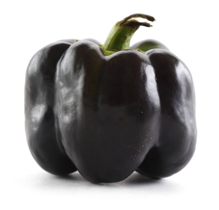 Heirloom black sweet pepper isolated on white background. Ugly organic vegetables concept closeup