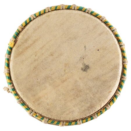 Ethnic musical instrument. African drum top made of goat skin isolated on white background overhead view Stock Photo