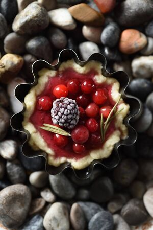 Healthy Nordic dessert. Homemade tartlet with raw lingonberries and blackberry on dark sea shore stones top view