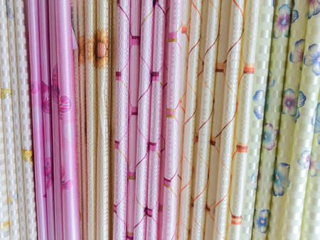 curtain background: The colorful textile curtain background densely.