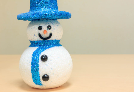 snowman wood: beautiful snowman on wood background.