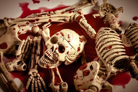 blood drop: skeleton with blood on white background.