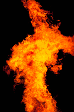 arsonist: Fire in night background. Stock Photo